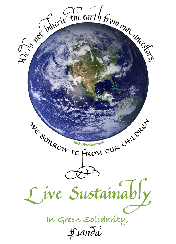earth with calligraphy native american quote about sustainability encircling it