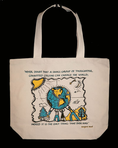 Margaret Mead's famous quote in artwork on an organic cotton, fair-trade shopping bag