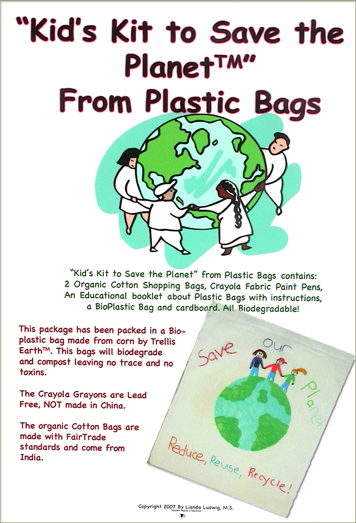 Cover of the Kid's Kit to Save the Planet from plastic bags- an educational craft toy for the green kid in your home